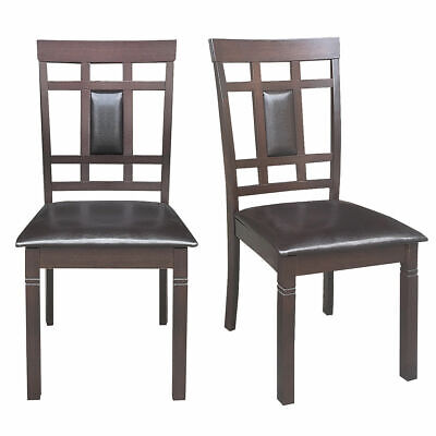 Set of 2 Dining Chairs PU Leather Upholstered Seat High Back Armless Furniture