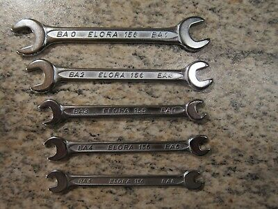 Vintage set of quality German made Elora chrome BA open ended spanners 0-8BA