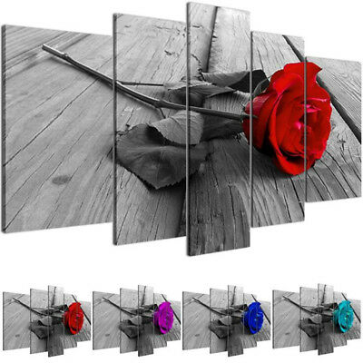 5Pcs Beautiful Rose Flower Poster Canvas Print Painting Wall Art Home Decor