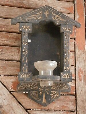 ANTIQUE VINTAGE WOODEN ICONOSTASIS HAND CARVED without GLASS CUP