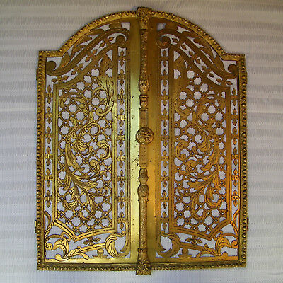 Antique Victorian 19Th French Pair Door Panels Brass & Gilt Bronze Art Nouveau