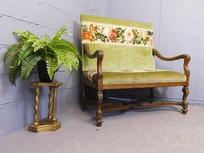 A Good Antique Carved Wood Nouveau Arts & Crafts Styled Settle Sofa Bench