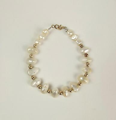 9ct Yellow Gold & Baroque Pearl Bracelet