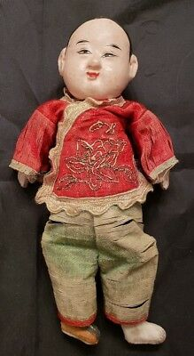 """Antique Composition Chinese Boy Doll In Embroidered Silk Clothes - 8"""""""