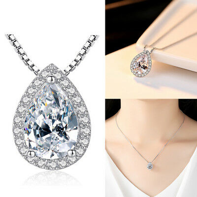 NEW Water Drop Pendant Sterling Silver Chain Necklace Womens Ladies Jewellery UK