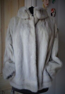 "Exquisite Real Fur 25"" Long ""Auzerine"" Silver-Blu Mink Jacket-UK size 12~14."