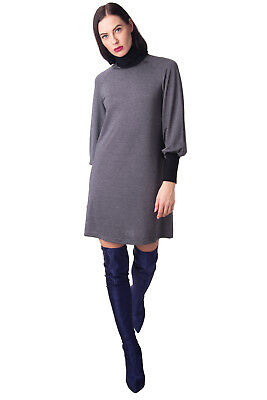ANTIPODIUM Mini Tunic Dress Size S Melange Bishop Sleeve Polo Neck RRP €235