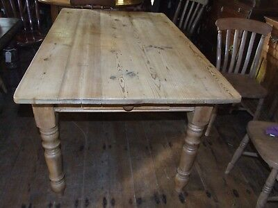 Antique Victorian pine 2 drawer SCRUB TOP TABLE 5ft by 3ft seats 6 kitchen