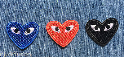 Pack Lot 3 Ecusson Patch Thermocollant Coeur Comme Des Garcons Custom