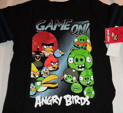 Angry Birds 100% Cotton SS T Tee Shirt Top Toddler Boys 2T Game On Black NWT