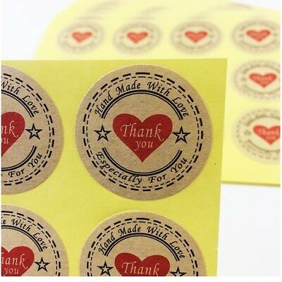 Round Labels 'THANK YOU HANDMADE WITH LOVE' Red Heart Gift Craft Stickers 3.3cm