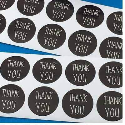 Round Paper Labels 'THANK YOU' Gift Food Kraft Craft Stickers Black & White Text