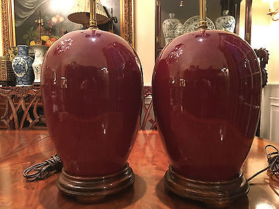 A Pair Excellent Qing Dynasty Flambe-Glazed GingerJar Vase Lamps.