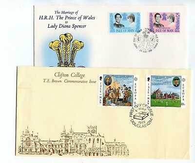 ISLE OF MAN ROYAL WEDDING & T E BROWN FDC's SPECIAL H/S