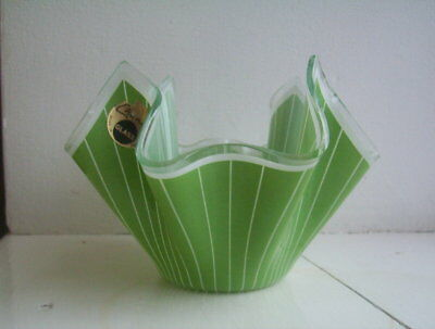 Chance Glass Handkerchief Vase Green and White Lined Pattern excellent