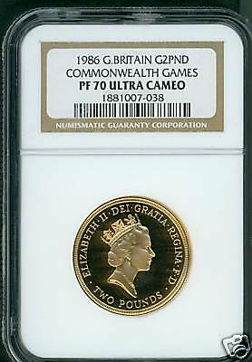 1986 Great Britain 2 Pounds Commonwealth Games Uk Ngc Pf70 Gold Pr70 !