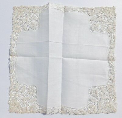Antique Wedding Handkerchief White Victorian Linen Lace Bride Hankie