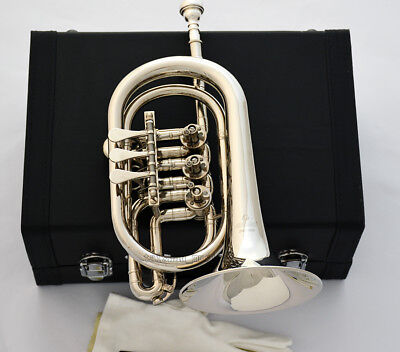Professional Silver nickel Rotary Valve Cornet JINBAO Bb Horn Leather case