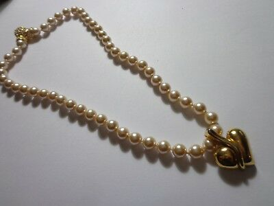 Vintage Monet Rhinestone Faux Pearl Necklace 18In