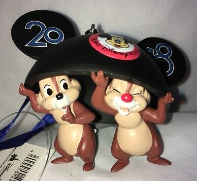 Walt Disney World 2018 Chip and Dale Mickey Ears Hat Ornament NEW