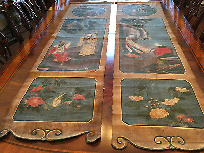 Rare and Large Chinese Qing Dynasty Dao Temple Hanging Painting #3 and #4.