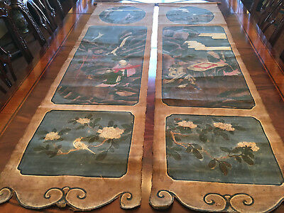 Rare and Large Chinese Qing Dynasty Dao Temple Hanging Painting #1 and #2.