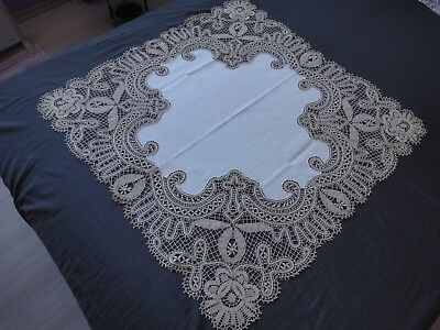Beautiful Vintage Handmade Brussels Lace Linen Cotton Tablecloth
