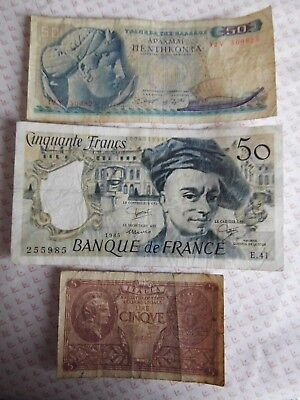 Lot 23) 3 old Foreign Bank Notes 50 French Francs 50 Greek Drachma 5 Italy Lire