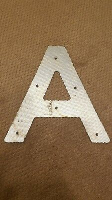 "Vintage Reflective Metal Letter ""A"" White 15"" Highway Road Sign Lettering"