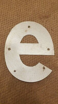 "Vintage Reflective Metal Letter ""e"" White 13"" Highway Road Sign Lettering"