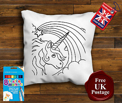 Childrens Unicorn Cushion, Colouring Cushion Cover, with/without Pens