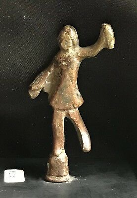 Estate Ancient Roman or Early Small Bronze Figure Holding An Object On Plinth