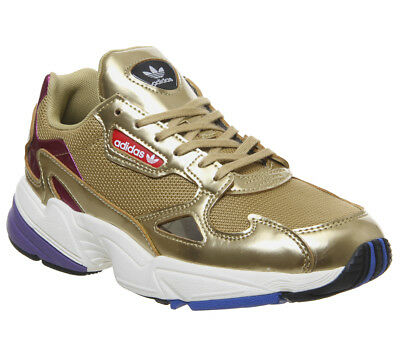 WOMENS ADIDAS FALCON Trainers White Gold Metallic Trainers