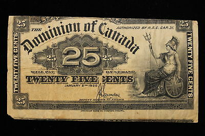 1900 Dominion of Canada. 25 Cents. Shinplaster. Saunders. Miscut.
