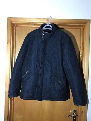 Barbour Mens Powell Quilted Chealsea Jacket Coat Navy With Brown Trim Medium M