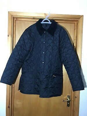 Barbour Liddesdale Quilted Black Jacket Coat Size Medium