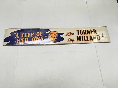 1950 A Life Of Her Own Original Movie Banner Lana Turner Ray Milland