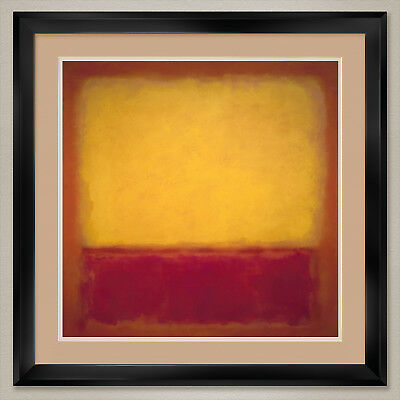 """35W""""x35H"""" YELLOW OVER PURPLE 1956 by MARK ROTHKO - DOUBLE MATTE, GLASS and FRAME"""