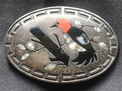 Estate Old Zuni Silver Coral Onyx Inlay Woodpecker Bird At Branch Belt Buckle
