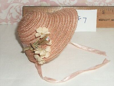 Vintage Vogue Ginny 1950's Light Salmon Pink Horsehair Bonnet EUC