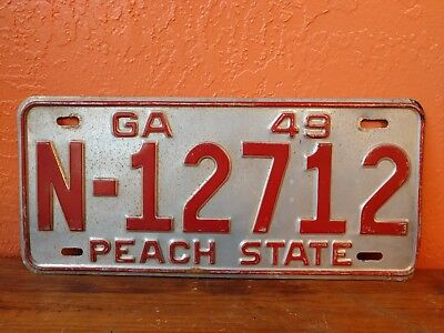 Georgia 1949 license plate # N-12712 Very Nice Condition