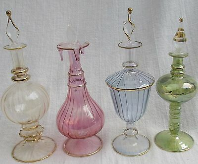 4 PC Lot Egyptian  PERFUME BOTTLES- Hand Crafted