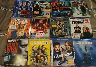 Lot Of 123 Slip Covers, 63 Blu-Ray 60 Dvd Death Wish  Ant Man & Wasp Star Wars
