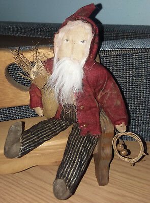 """GRUNGY PRIMITIVE COUNTRY BELSNICKLE SANTA DOLL 11"""" Tall Ornament or Shelf Sitter"""