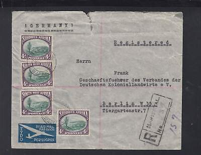 South West Africa R-Air-Mail-Cover Mariental circ. 1937 to Berlin