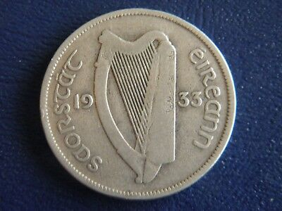 1933 Irish Silver Half Crown Irish Harp and Horse-Good Condition-Stk#18-809