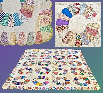 Antique  Hand Made Dresden Plate Quilt With Scalloped Boarder & Green Backing
