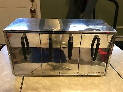 Lincoln Beautyware Chrome 4 Canister Set Vtg 50s Counter Top Wall Mount W/scoop
