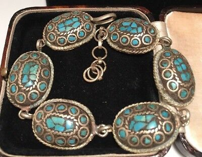 Vintage Jewellery Gorgeous mosaic turquoise chunky oval link bracelet