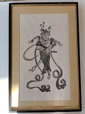 Elaborate Japanese Framed Woodblock Print Man Orient Wall Decor -Stained Matting